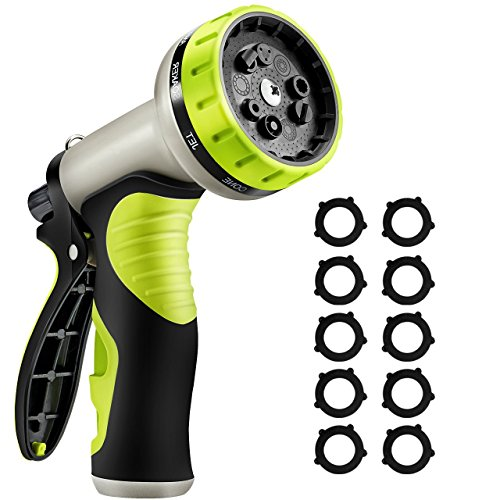 (VicTsing Upgraded Version Garden Hose Nozzle, 9 Patterns Heavy-Duty Spray Nozzle with 10 Washers, Thumb Control and Slip Resistant TPR Cover for Watering Plants, Washing Cars, and Showering Pets)