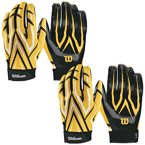 Wilson Adult MVP Clutch Football Running Back Receiver Gloves, XL (2 Pairs)
