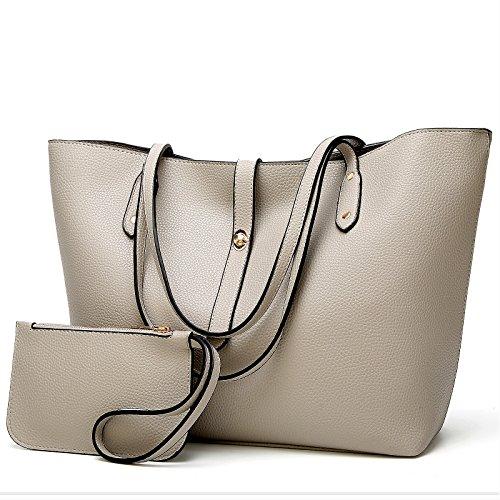 Women Purse Handbags Wallets Bag Set Shoulder Bag Large Tote Bag Top Handle Satchel,Gray,Medium (Ladies Handbags Xoxo)