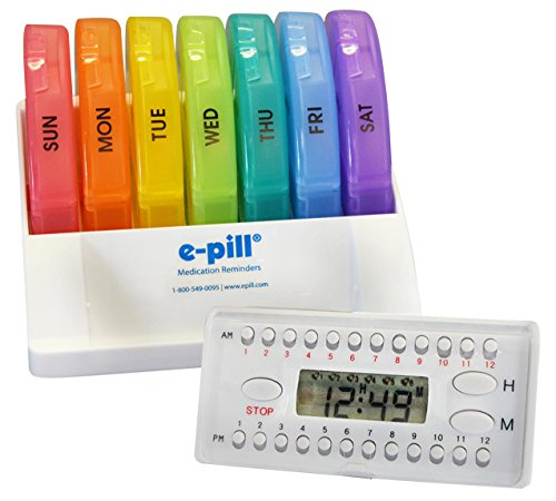 e-Pill Pill Rack 7 Day x 4 Weekly Pill Box Organizer Pill Case System for Medications, Supplements, and Vitamins. Pill Alarm Timer Included. ()