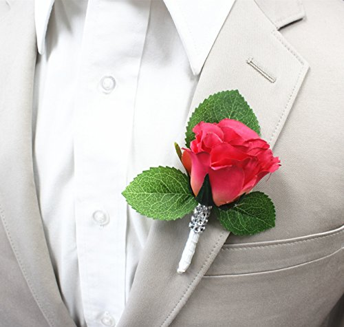 (Angel Isabella Boutonniere-Nice hand-crafted rosebud keepsake artificial flower-Pearl headed Pin included (Hot Pink))