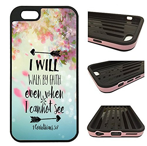 iPhone 6 Plus Case / iPhone 6S Plus Case - I will Walk By Faith Corianthians Bible Verse Christian Quote - designer TPU case with drop protection-Unique 2-in-1 Hybrid protection with TPU + Plastic