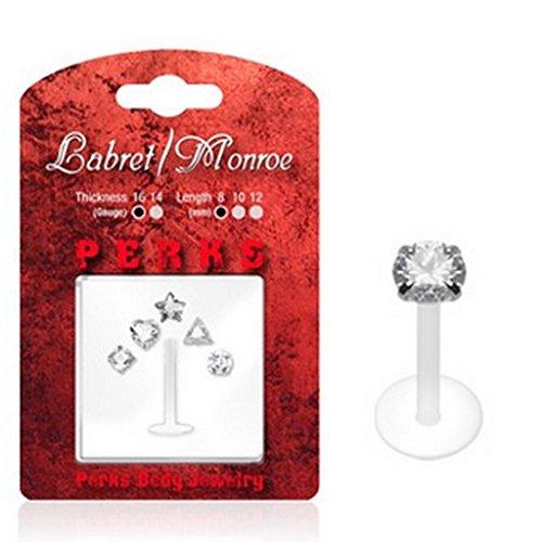 Pack de piercing labret monroe avec 5 assortiments en PTFE Taille: 1,2 mm x 8 mm x 3 mm