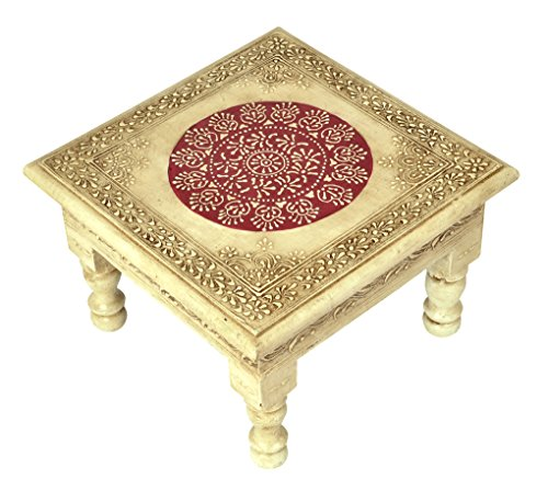 Lalhaveli Designer Hand-Painted Wooden Chowki Stool/Decorative Small Side Table/Bajot Table for Pooja Room