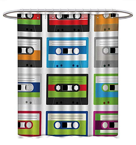 (Anhuthree 90s Shower Curtains Fabric Collection of Retro Plastic Audio Cassettes Tapes Old Technology Entertainment Theme Bathroom Decor Sets with Hooks W72 x L84 Green Blue)