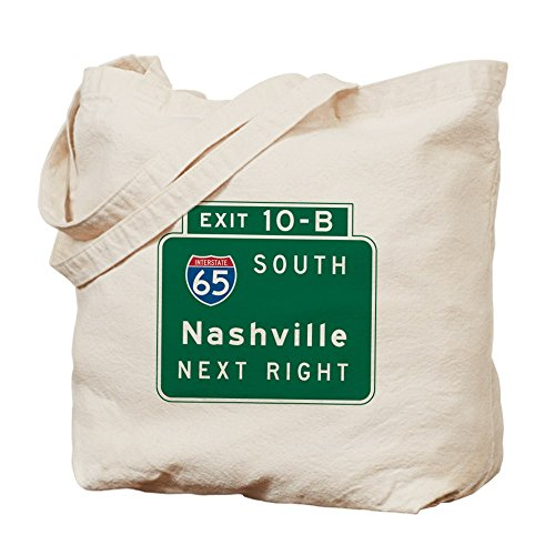 CafePress - Nashville, TN Highway Sign - Natural Canvas Tote Bag, Cloth Shopping - Nashville Shopping