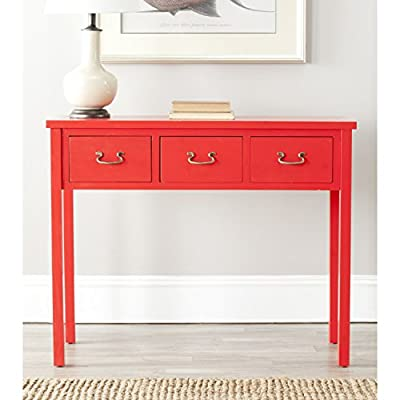 "Safavieh American Homes Collection Cindy Hot Red Console Table - The red finish of this console table will create a perfect accent to your home This console table features three drawers measuring 10.6"" x 12.7"" x 5.7"" Crafted of solid pine wood - living-room-furniture, living-room, console-tables - 51CuH5M8EsL. SS400  -"