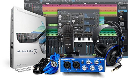 Presonus Audiobox Studio With Headphones  Microphone  Mic Cable  Usb Cable  And Studioone Artist Software  Download