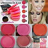 1 Set X Music Flower 5 Color Brusher Palette with Brush Waterproof Blush Face Makeup Cheek Color Blusher Colorete Sleek