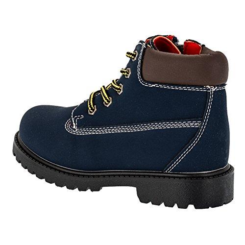 Mikelo Shoes Jungen oder Mädchen Classic Boots, Stiefel, Schnürschuh in Mehreren Farben #220bl Blau
