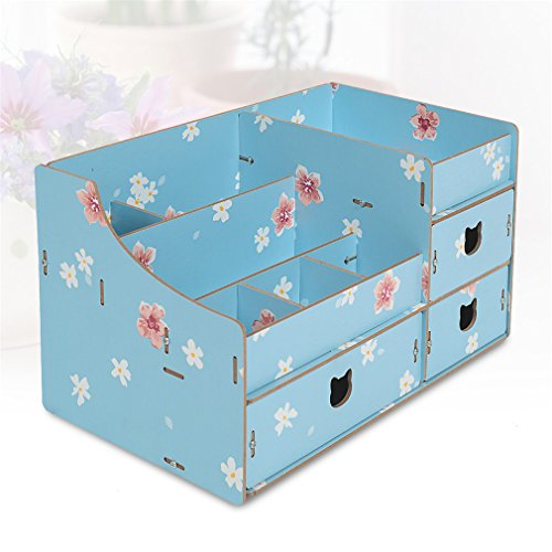Wood Cosmetic Organizer Assembly Wooden Pink Makeup Organizer Drawers Factory Jewelry Box Blue by Cosmetic rack (Image #5)