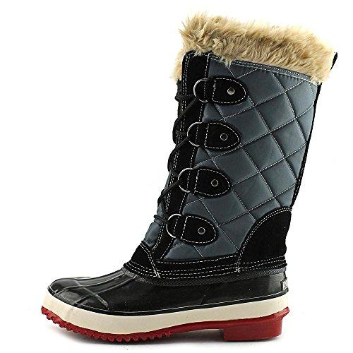 Khombu MELANIE, Kaltes Wetter Stiefel Frauen, Geschlossener Zeh, Leder Black/Grey