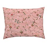Chintz Floral Antique Embroidery Marie Antoinette Dauphine Moire Standard Knife Edge Pillow Sham Cecile Chintz ~ Dauphine by Peacoquettedesigns 100% Cotton Sateen