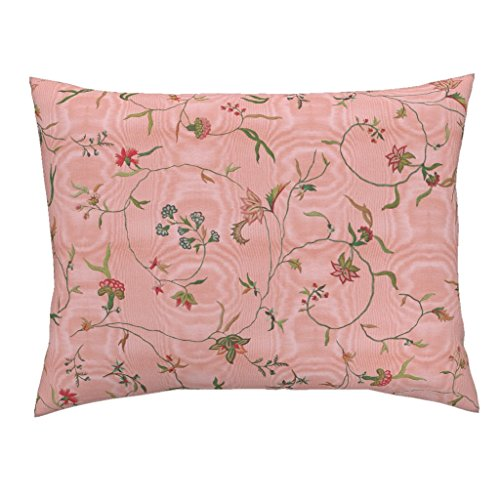 Chintz Floral Antique Embroidery Marie Antoinette Dauphine Moire Standard Knife Edge Pillow Sham Cecile Chintz ~ Dauphine by Peacoquettedesigns 100% Cotton Sateen by Roostery