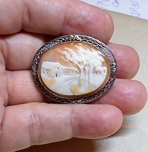 (Sterling Hand Carved Shell Cameo, Beautiful Country Farm Road Scene, Filigree Open Work Brooch Pendant on Silver Plated Chain OOAK)