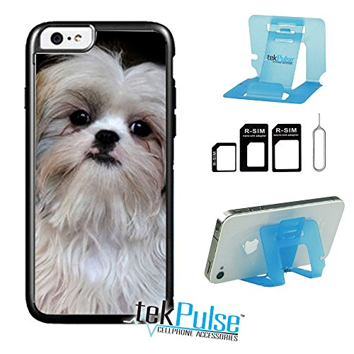 TekPulse (tm) Shih Tzu Breed Dog Real Leather TPU Back Cell Phone Case & Nano Sim Card Adapter & Collapsible Cell Phone Stand - [Bundle Pack, 3 pcs] - Direct Print Technology