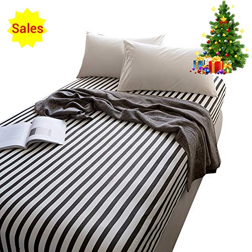 (OROA 100% Cotton Black White Stripe Sheets Children Grid Fitted Sheets Soft Single Deep Fitted Bed Sheet Twin Size (Twin, Black White))