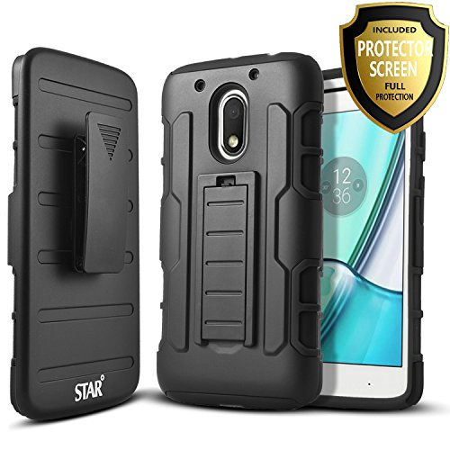 Moto G4 Play / Moto G Play / Moto E3 Case, Starshop [Heavy Duty] Dual Layers with Kickstand and Locking Belt Clip With Screen Protector (Black)