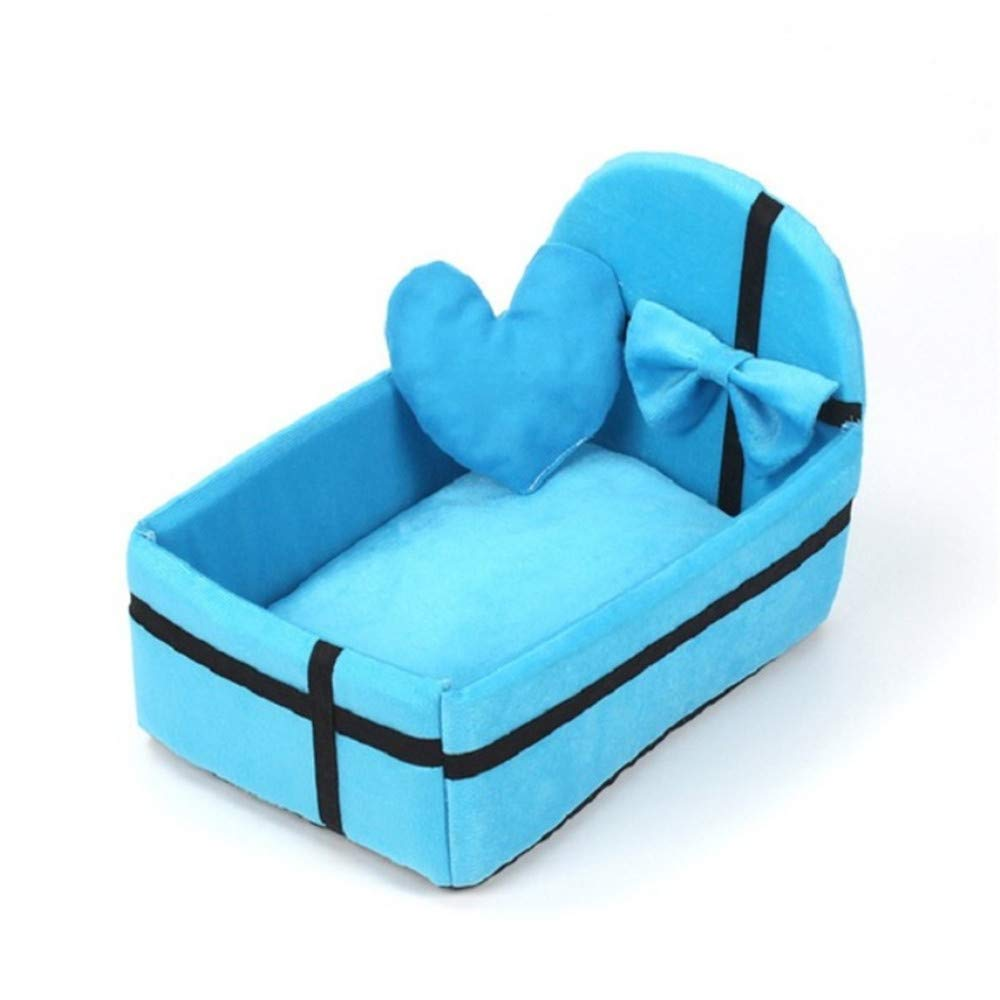 L Wuwenw New Cotton Pet Cat Bed Autumn And Winter Warm Basket For Cat And Dog Bed Sleeping Mat Baby Pet Supplies Suitable For Small Dogs And Cats bluee,L