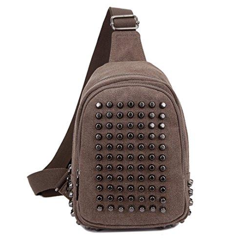 Vintage Leisure Single Shoulder Bag Mini Backpack Messenger Chest Bag for Men (Brown) - 5
