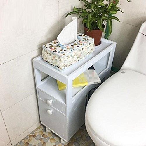 GL&G Bathroom Furniture Simple modern white waterproof Bathroom corner cabinet Storage storage cabinets Toilet side cabinet home, hotel side cabinet by GAOLIGUO
