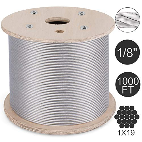 Mophorn T316 Stainless Steel Cable 1/8 Inch 1x19 Steel Wire Rope Cable 1000Ft Cable Railing for Railing Decking Aircraft (1 Stainless Steel)