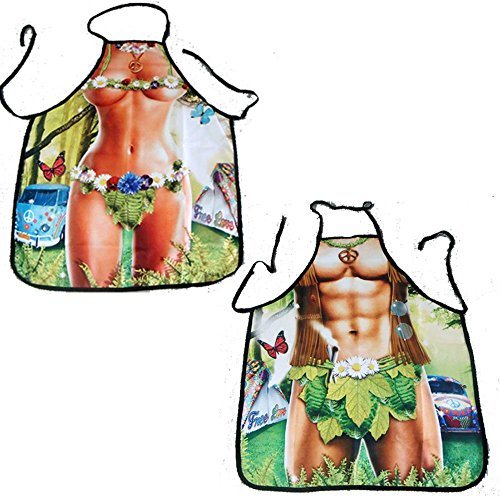 ASSENADA Design - Adam and Eve Sexy Panties Geek Apron BBQ Funny Kitchen Apron for Women Men Unisex - Couple Gifts for Him and (Adam & Eve Costume)