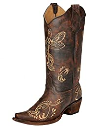 Corral Women's Circle G Distressed Bone Dragonfly Embroidered Western Boot
