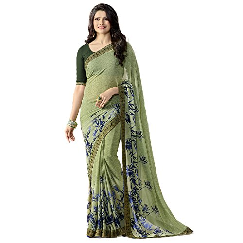 RAJESHWAR FASHION WITH RF Women's Georgette Printed Sarees Jacquard Lace Border Work Sarees For Women With Blouse Piece (Multicolored_Free Size 6.30 Mtr)