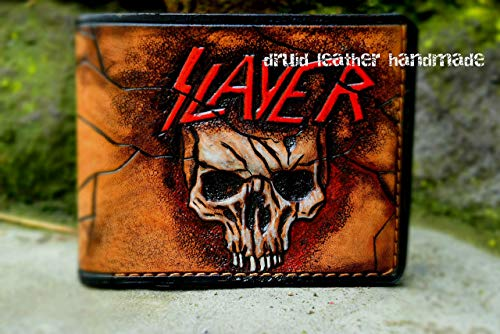 (Leather Carving,Mens carved wallet, Slayer wallet,Personalized wallet, Hand-painted, Rockers wallet, Biker wallet, Metal bands,wallet carved skull)