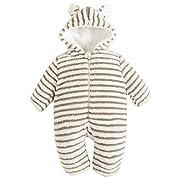 Bebone Toddler Baby Girls Boys Winter Snowsuit Striped Hooded Cartoon Fleece Romper(Green,6-9m)
