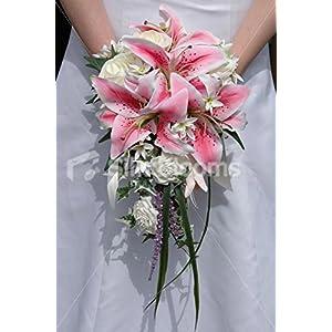 Modern Pink & Ivory Stargazer Lily Cascading Wedding Bouquet 89
