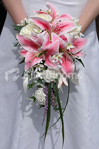 Modern Pink & Ivory Stargazer Lily Cascading Wedding Bouquet