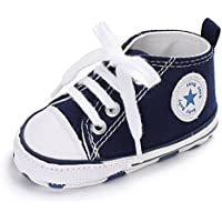 Baby Girls Boys Canvas Shoes Soft Sole Toddler First Walker Infant High-Top Ankle Sneakers Newborn Crib Shoes