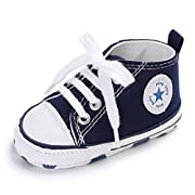Unisex Baby Girls Boys Canvas Shoes Soft Sole Toddler First Walker Infant Sneaker Newborn Crib Shoes(Navy,0-6Month)
