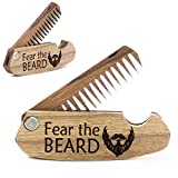 Wooden Beard Comb for Men. Folding Pocket Comb for Moustache, Beard & Hair. Walnut Combs with Fear the Beard Engraving