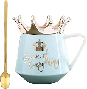 Cute Ceramic Coffee Mug with Queen Lid and Golden Spoon for Hot Cold Beverage, Gift for Family Friends Lovers Wedding Blue
