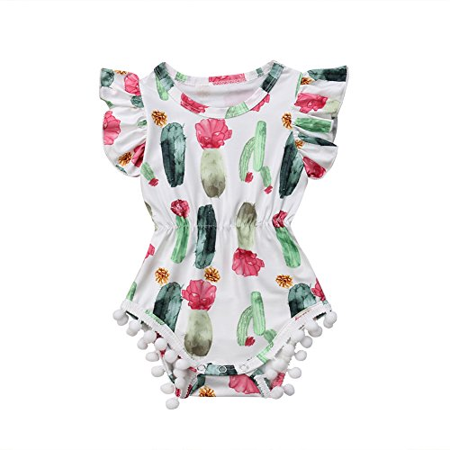 Newborn Baby Girl Cactus Bodysuit Floral Ruffle Sleeve Tassel Romper Playsuit Outfit Clothes
