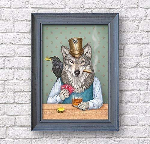 Wolf raven art print, whiskey poster, Funny bar wall decor