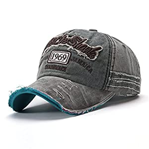 CHENMA Men Baseball Fashion Distressed Embroidery Cool Denim Sports Adjustable Hat