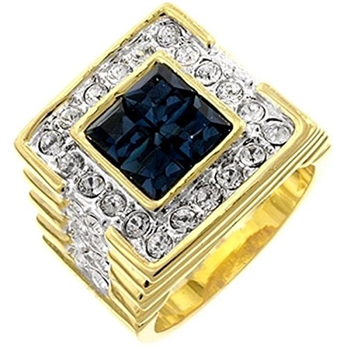 Deep Sea Cubic Zirconia Studded Gold Colored Cocktail Ring, Size 14