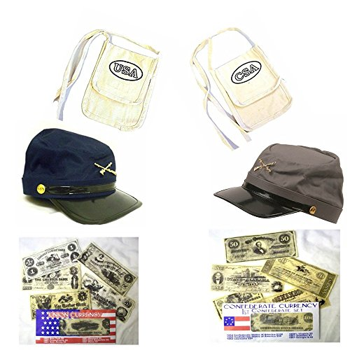 Blue and Gray Civil War Kepi Hats ~ Deluxe Set with Hats, Haversacks and Civil War Play Money and Civil War Fact Sheet by Creative Kids Toys Roleplay Set -