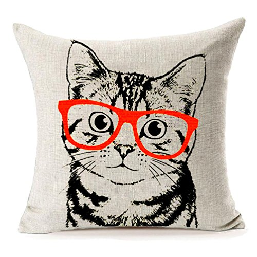 Home Decor Cotton Linen Pillow Covers 18x18,MFGNEH Cute Cat Wearing Red Glasses Throw Pillow Case Cushion Cover for Sofa