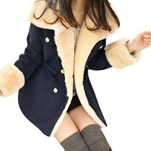 Gillberry Winter Warm Double Breasted Wool Blend Jacket Women Coat Outwear (L, Navy Blue)