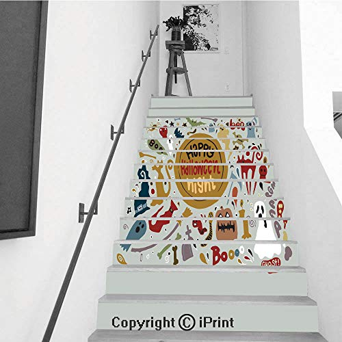 Stair Stickers Wall Stickers,13 PCS Self-Adhesive,Make Your Home Unique,Cute Happy Halloween Night Background Hand Drawn style8
