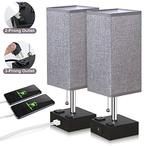ZEEFO USB Table Lamp, Gray Square Fabric Shade Bedside Table Lamp with Two AC Outlet & Fast Dual USB Charging Ports, Modern Design Desk Lamp Ideal for Bedroom,Office,Guest Room, Kids Room (2 Packs)