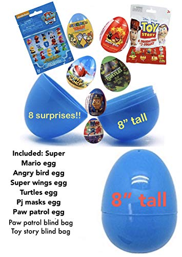 "Jumbo 8"" surprise egg with favors. 6 eggs and 2 blind bags. Super Mario, Angry Birds, super wings, TMNT, PJ Masks, Toy story -"