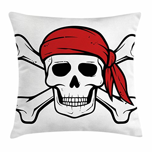 """Ambesonne Pirate Throw Pillow Cushion Cover, Dead Pirate Skull and Crossbones Red Bandana Scary Bandit Warning Piracy, Decorative Square Accent Pillow Case, 16"""" X 16"""", White Black"""