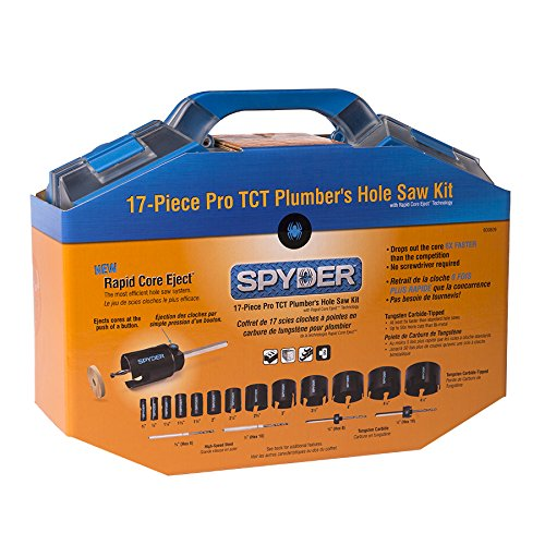 Tungsten Kit - Spyder 600809 Tungsten Carbide Tipped Rapid Core Eject Plumbers Hole Saw Kit, 17-Piece
