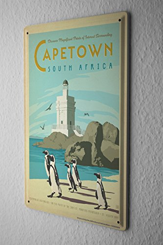 Tin Sign World Tour Cape Town South Africa Penguins lighthouse beach Metal Plate 8X12